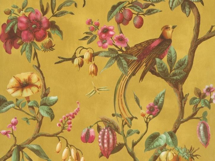 BN Wallcoverings/Voca Fiore Behang 220444 Birds Of Paradise/Vogels/Bloemen/Fruit/Landelijk/Modern
