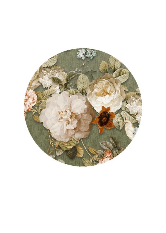 Behangexpresse Floral-Utopia Cirkel INK305 Sweet Rosa Moss/Bloemen/Vogel/Botanical
