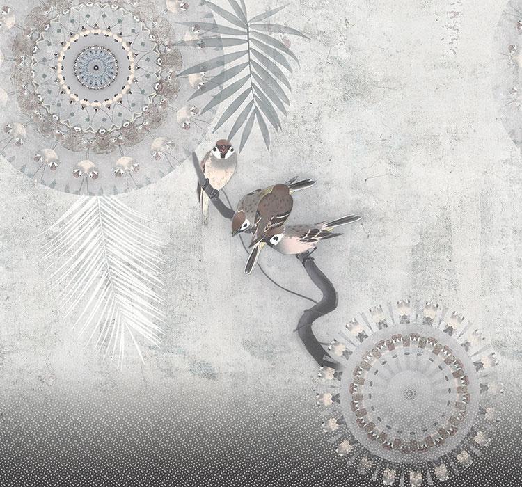 Behangexpresse Circle of Life/Select.D Fotobehang TD4190 Mondial/Mandala/Vogels/Bladeren