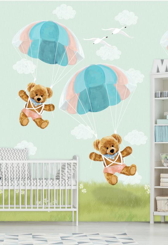 Behangexpresse Kay & Liv INK7018 Parachute/Beren/Peuter/Kleuter Fotobehang