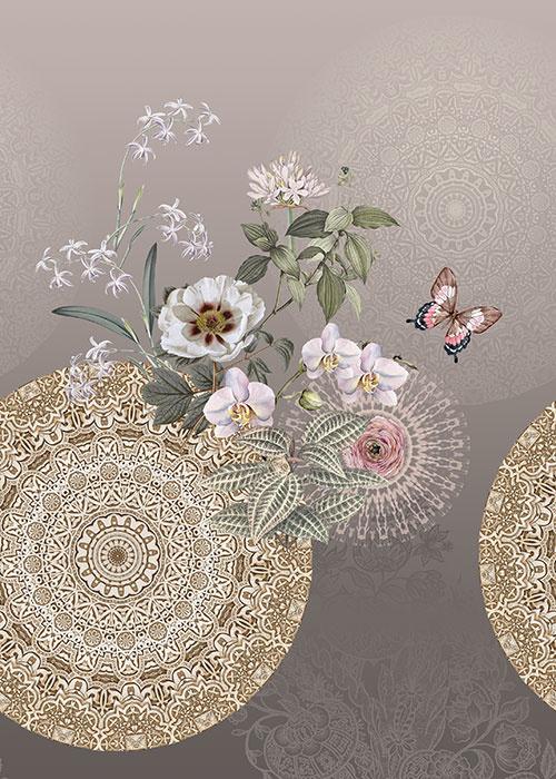 Behangexpresse Circle of Life/Select.D Fotobehang TD4186 Molly/Mandala/Vlinders/Bloemen