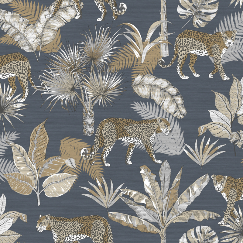 Dutch Wallcoverings Jungle Fever Behang JF2102 Leopard/Botanisch/Dieren/Planten/Luipaard