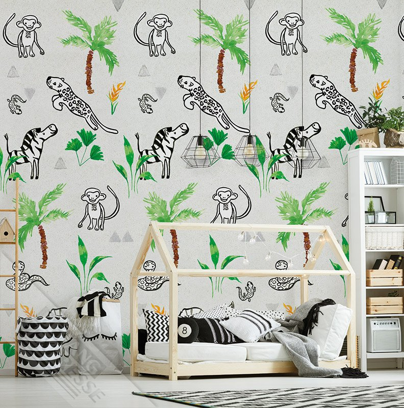 Behang Kinderkamer Jungle.Behangexpresse Morris Mila Ink7272 Jungle Dieren Aap Kinderkamer