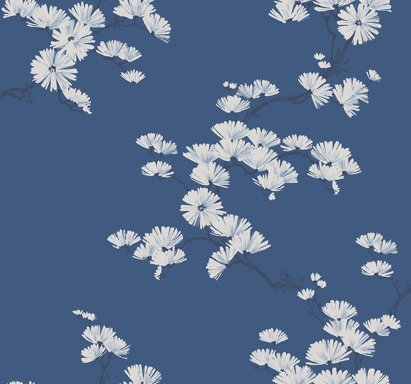 Dutch Wallcoverings Navy, Grey & White Behang BL70522 Bloemen/Botanisch/Takken/Blauw
