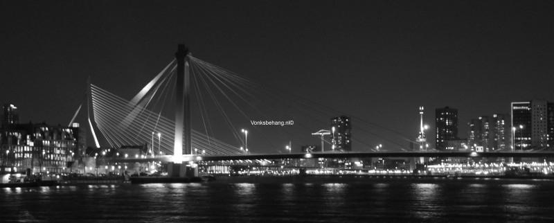 Fotobehang. Willemsbrug-Rotterdam/Panorama1-grijstint