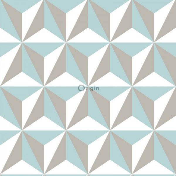 Origin Wunderkammer Behang 346-347446 Modern/3D effect/Blauw/Taupe/Wit