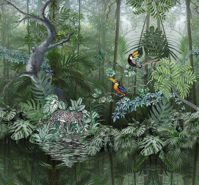 Behangexpresse Checking out Nature Fotobehang TD4104 Borealis/Botanisch/Panter/Toekan/Vogels Behang
