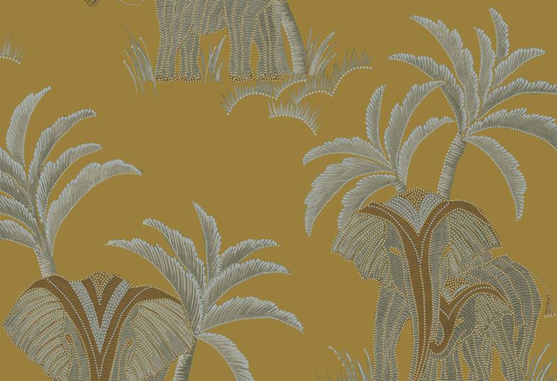 Hookedonwalls Exotique Behang 17302 Tembo/Olifant/Palmboom