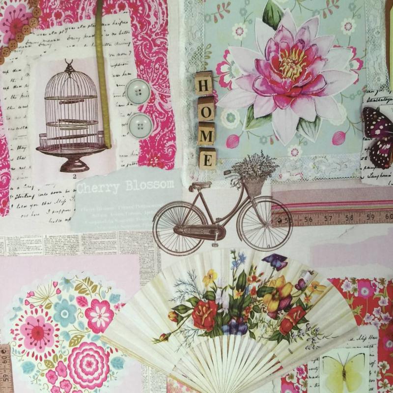 Behangexpresse Scrapbook Behang  23702 Romantisch/Bloemen/Vlinders
