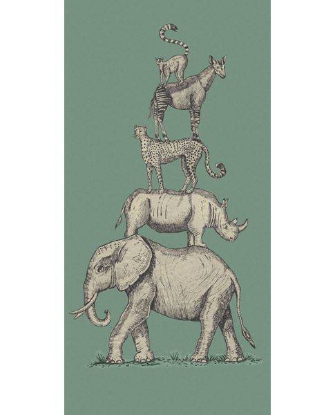 Eijffinger Mini Me Behang 399113 Safari Stack Green/Vintage/Dieren/Kinderkamer Fotobehang