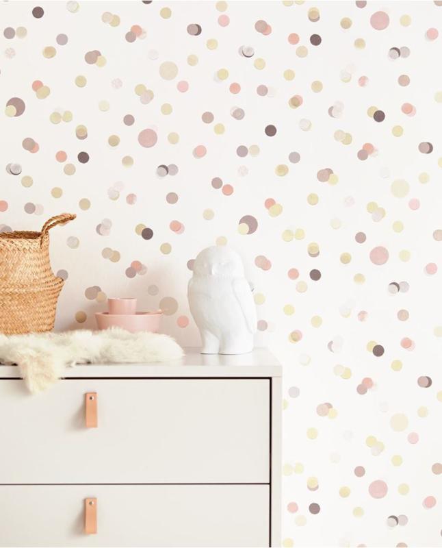 Behang Kinderkamer Roze.Eijffinger Mini Me Behang 399002 Dots Stippen Kinderkamer