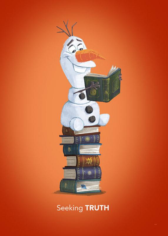 Komar/Disney Edition4 Poster/Affiche WB068 Frozen/Olaf Reading/Boeken/Kinderkamer Afbeelding