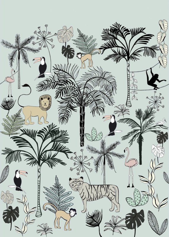 Jungle Dieren Behang Kinderkamer.Rasch Bambino 842197 Jungle Dieren Peuter Kleuter