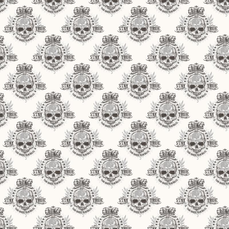 Noordwand Grunge  Behang G45365 Skull/Doodshoofd/Modern/Grijs