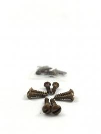 Schroefjes klein voor rozetten, per 8 stuks , brons antiek