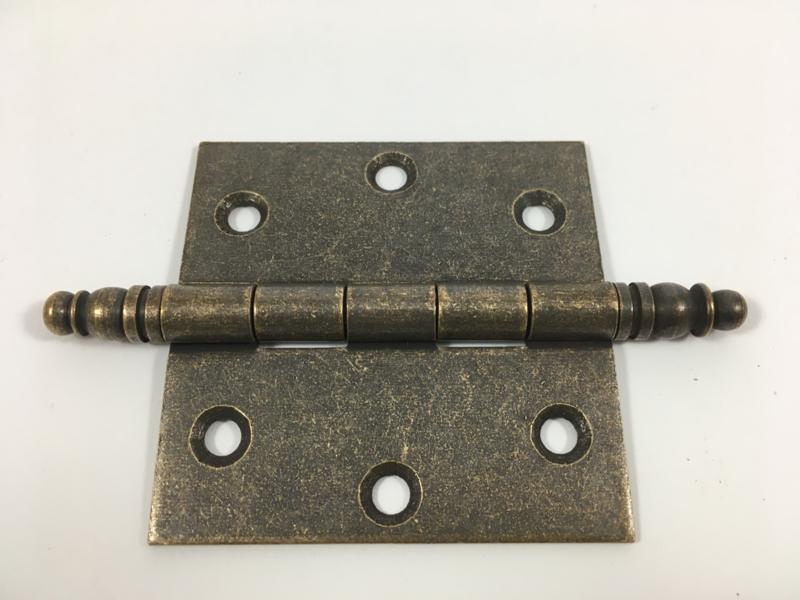 nr.2 scharnier sierkop 76mm, brons antiek