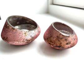 Waxinelichthouder Bloom - Pink - Set van 2