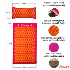 Flowee Spijkermat Set ECO - Fuchsia-Oranje - Gevuld met Kokosvezels & Boekweitkaf - 99x45cm
