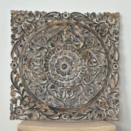 Houten Mandala - Whitewash met goud - Small 60x60
