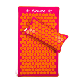 Set spijkermat ECO (met kokosvulling) + kussen | Fuchsia - Oranje