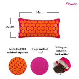 Flowee Spijkermat kussen - Fuchsia-Oranje - Gevuld met Boekweitkaf - 44x22cm