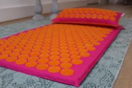 Set spijkermat + kussen | Fuchsia-Oranje