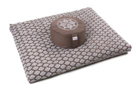 Zabuton met zilverwitte print | Grijsbruin