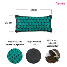 Flowee Spijkermat kussen - Grijs-Zeegroen - Gevuld met Boekweitkaf - 44x22cm