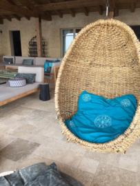 Zabuton met geborduurde mandala's | Turquoise