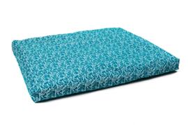 Zabuton met zilverwitte print | Turquoise