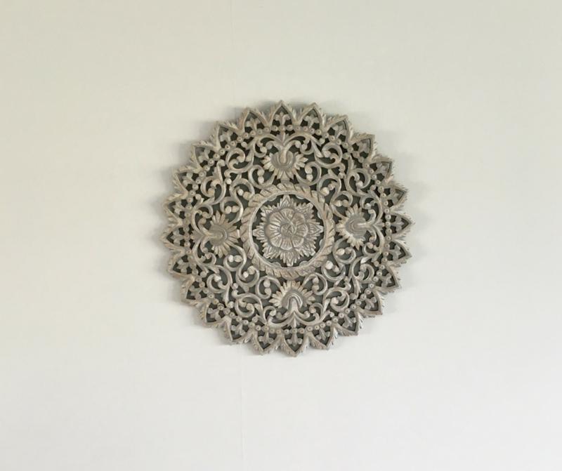 Houten Mandala | Greywash | Small ∅ 60cm