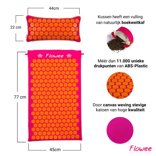 Flowee Spijkermat Set - Fuchsia-Oranje - 99x45cm