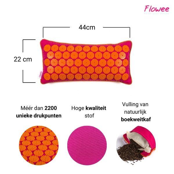 Spijkermat kussen | Fuchsia-Oranje