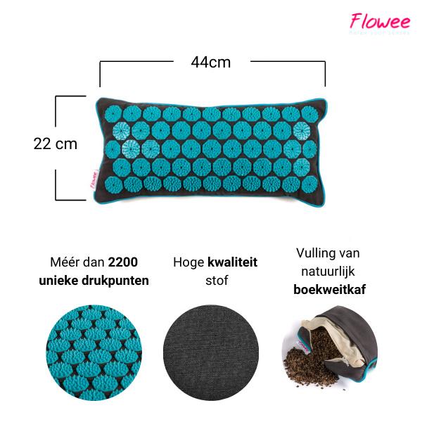 Flowee Spijkermat kussen - Grijs-Blauw - Gevuld met Boekweitkaf - 44x22cm