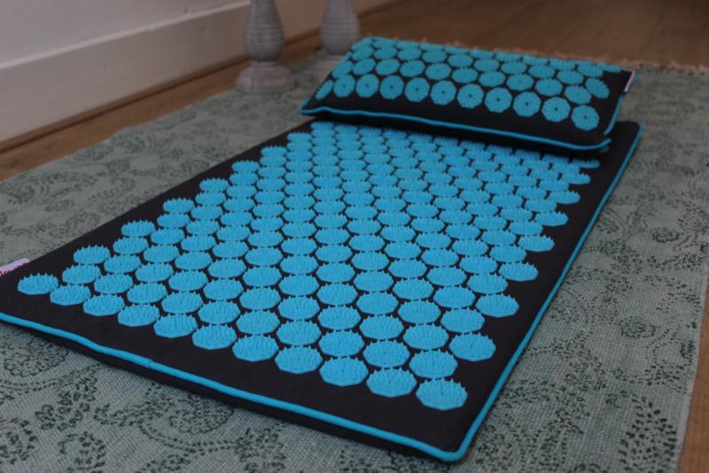Set spijkermat ECO (met kokosvulling) + kussen | Grijs-Blauw