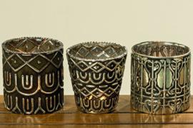 Theelichten  - 3 set - XL - Glas - waxinehouders - oud zilver - Ø 10cm