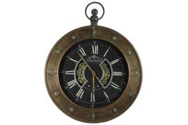 Klok - Vintage - Glas - Ø 60cm - Metaal - industrieel - Bronz - zwart