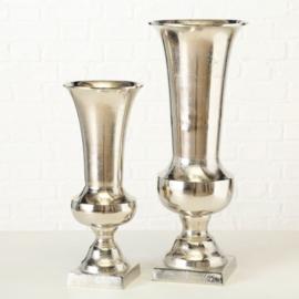 Vaas - set 2 - Aluminium - Zilver - 44 cm x Ø 18 cm - 58 cm x Ø 23 cm