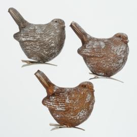 Vogels - 3 set - incl. klip - Bruin - Zilver - Glas