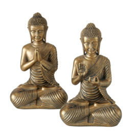 Buddha - Boedha - 2 set -  Antiek goud - polyserine - 20cm - Geluk