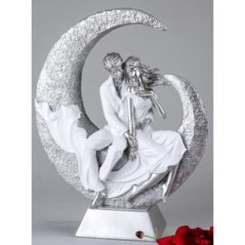 Man - Vrouw - Beeld - Zilver - op voet - 40cm - Liefde - Maan