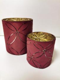 Windlicht - 2 set - Antiek  Rood -  16cm - Ø 14m - Glas