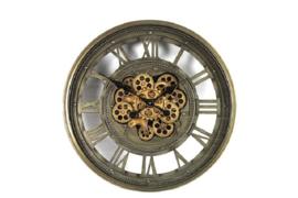Klok - Tandwiel - Vintage - Glas - Metaal - Ø 60cm - Grijs