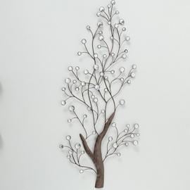 Wand - decoratie - Boom - Bruin - Muurdecoratie - 109x52cm - Metaal - steentjes