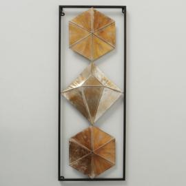 Wanddecoratie - Muur decoratie - 86x33x3cm - Metaal - Goud - bruin - zilver