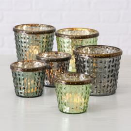 Windlichten -  6 stuks - Antiek  glas  - 11cm - 8cm- Metalen ring