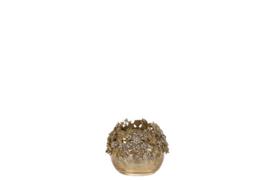 Windlicht - glas - Goud - Handmade - Juweel - Ø8cm