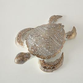 Schildpad- Polyserin- Goud - 42cm - Beeld - Decoratief - XL