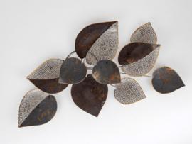 Wanddecoratie - Muurdecoratie - Metaal - Blad - 62x40x4.5 cm - Goud- zilver