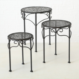 Bijzet tafel - 3 set - Smeedijzer - Rond - 20-25-30cm - Bruin/zwart